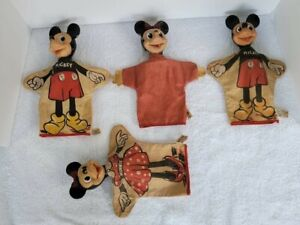 VINTAGE DISNEY/GUND MICKEY & MINNIE MOUSE HAND PUPPETS (LOT OF 4)