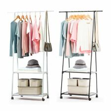 Rolling Metal Clothes Holder Storage Rack Shoes Shelf Garment Hanger Organizer