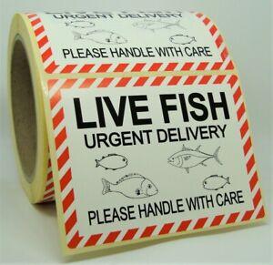 LIVE FISH URGENT CARE Labels Stickers MEDIUM 100x75mm Aquarium Pets 100X75-LFI