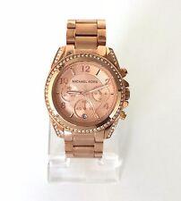 Michael Kors Damen Uhr Chronograph Datum rosé rosa fein Edelstahl Steine MK5263