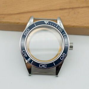 41mm Watch Case Blue Ceramic Bezel Sapphire Cystal Fit ETA 2824/2836 Movement