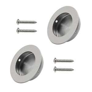 2Pcs Round Door Recessed Flush Pull Hidden Cabinet Handles with Screws 50mm