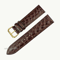 Brown Crocodile Grain Leather Wrist Watch Band Thin Slim Strap Gold Buckle