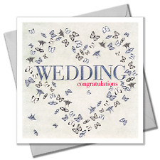 Wedding Congratulations Card, Butteflies Heart, Embossed and Foiled text