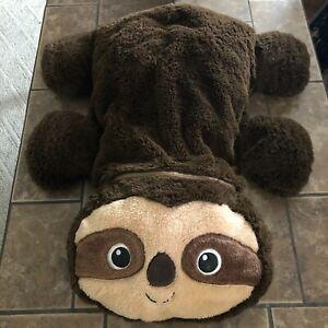 """Dan Dee 26"""" Laying Floppy Sloth Plush Toy Stuffed Animal Pillow Dark Brown"""