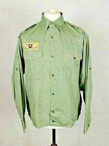 Vintage Slovakian Army Dress Shirt Military Parade Olive Green Formal Uniform