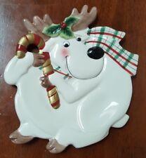 Fitz & Floyd Essentials Christmas Reindeer Plate Dish Serving Candy Dessert