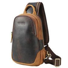 Retro Men's Real Leather Sling Chest Bag Sport Side Shoulder Bag w/USB interface