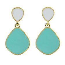 Aqua Blue Color Enamel Dangle Earrings …