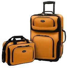 Rio Carry-on Yellow Lightweight Expandable Rolling Suitcase Travel Tote Bag Set