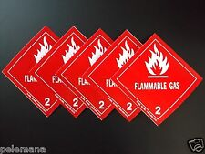 """5 -Five Labels FLAMMABLE GAS 2 Red/White 4"""" x 4"""" Self Adhesive Paper Sticker NEW"""