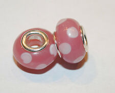 European Style Glass Bead - pink dots-  Buy 15 get a FREE BRACELET!