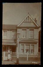 London RICHMOND MORTLAKR #6 Carlton Rd little girl + doll 1909 RP PPC gas lamp
