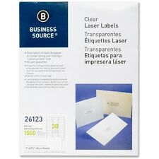 """Business Source Mailing Labels Laser 1""""x2-3/4"""" 1500/PK Clear 26123"""