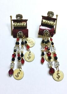 Vintage 1988 LUNCH AT THE RITZ $ Slots Metal Dangle Pierced Earrings 80s SIGNED