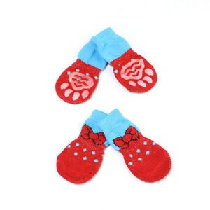 4pcs Warm Pet Cat Puppy Dog Shoes Pet Dog Knits Anti Slip Socks Dog Clothes US