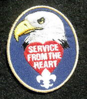 """SERVICE FROM THE HEART EMBROIDERED SEW ON PATCH EAGLE UNIFORM 2"""" x 2 1/2"""""""