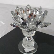 Clear Crystal Lotus Flower Candle Tea Light Holder Home Decor Table Centerpiece