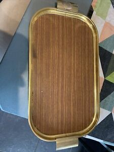 Vintage tray 50s 60s Carefree Manchester Wood and gold effect metal drinks tray
