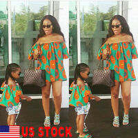 US Mother&Daughter Parent-child Summer Clothes Girl Tops Family Matching Outfits