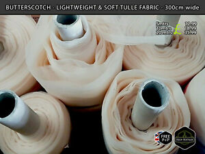 BUTTERSCOTCH - LIGHTWEIGHT & SOFT TULLE FABRIC - BRIDAL & EVENTS - 300cm wide*