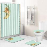Angel Bathroom Rug Set Shower Curtain Soft Bath Mat Non-Slip Toilet Lid Cover