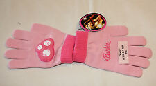 Barbie Girls Pink Heart Printed Acrylic Gloves Size 7 - 10 New