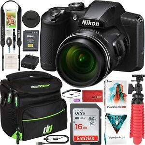 Nikon COOLPIX B600 16MP 60x Opt. Zoom Wi-Fi Digital Camera Black - Bundle,refurb