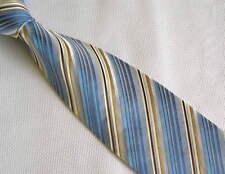 Mens Necktie Silk Tie Blue Yellow White Strip