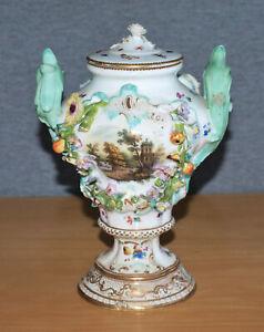 Antique Meissen Porcelain Encrusted Urn Shaped Floral & Painted Urn, Pot Pourri?