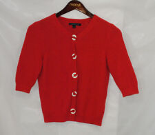 Boden Womens Size 12 Red Cardigan Sweater 3/4 Sleeve Spring Summer