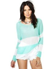 Nasty Gal Lovemarks Start Fresh Beach Knit Pullover Sweater Mint Stripe Size S