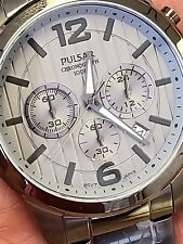 PULSAR  SEIKO CHRONOGRAPH 100M.WATCH.SILVER DIAL STAINLESS STEEL.