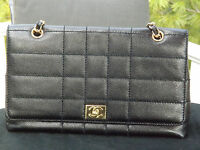 "Authentic Chanel Quilted Black Caviar Leather Full Flap 22K Gold Bag EXC 13""x8"""