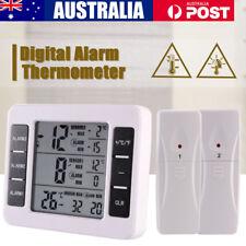 Indoor/Outdoor Wireless Digital Audible Alarm Refrigerator Thermometer & 2Sensor