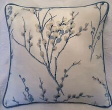 "16"" LAURA ASHLEY PUSSY WILLOW OFF WHITE  CUSHION COVER  PIPED Dark Seaspray"