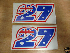 Pair of Casey Stoner  #27 number stickers - 125mm x 57mm  - x2 Decals