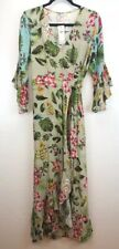 NEW ANTHROPOLOGIE Dress Bl-nk Small Floral Maxi Flounced Sleeve Hem NWT $228