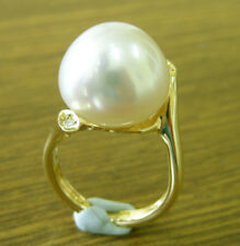15.4mm White South Sea Pearl 100 UNTREATED Diamonds 18ct Solid Y Gold Ring Cert