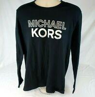 NWT Michael Kors Men's Long Sleeve Tee Shirt Large Black Silver Logo T-Shirt