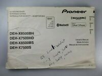 Pioneer Car Stereo Owners Manual Only DEH-8500BH, DEH-X7500HD, DEH-X8500BS