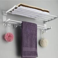 Wall Mounted Towel Rack Holder Hook Hanger Bar Shelf Rail Storage Bathroom Hotel