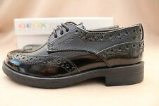 Geox leather Shoes Size 9 Kids New with Box RRP £50 Black Patent Respira