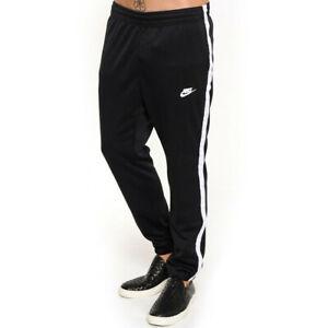 Nike Mens Tribute Track Pants Black Cuffed Tracksuit Bottoms L