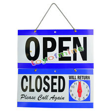 Open Closed Sign / Will Return Clock Business Hours —hanging 2-sided 29x14 Cm