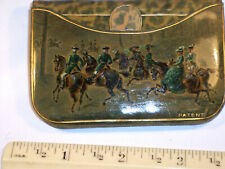 New listing Rare Antique Victorian Leather Coin Purse Hand Painted Hunting Scene Patent Usa