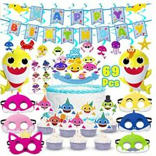 Shark Party Supplies for Baby, 69 pcs birthday decorations