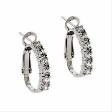 925 Silver CZ Half Hoop Earrings