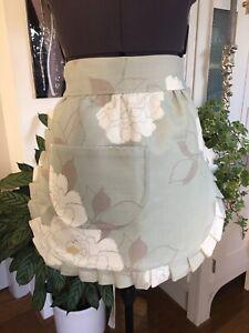 Handmade Reversible Cotton Linen vintage Style Eau De Nil Floral Half apron