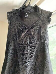 BANNED Black Gothic Victorian Steam Punk Skull & Rose Dress 10